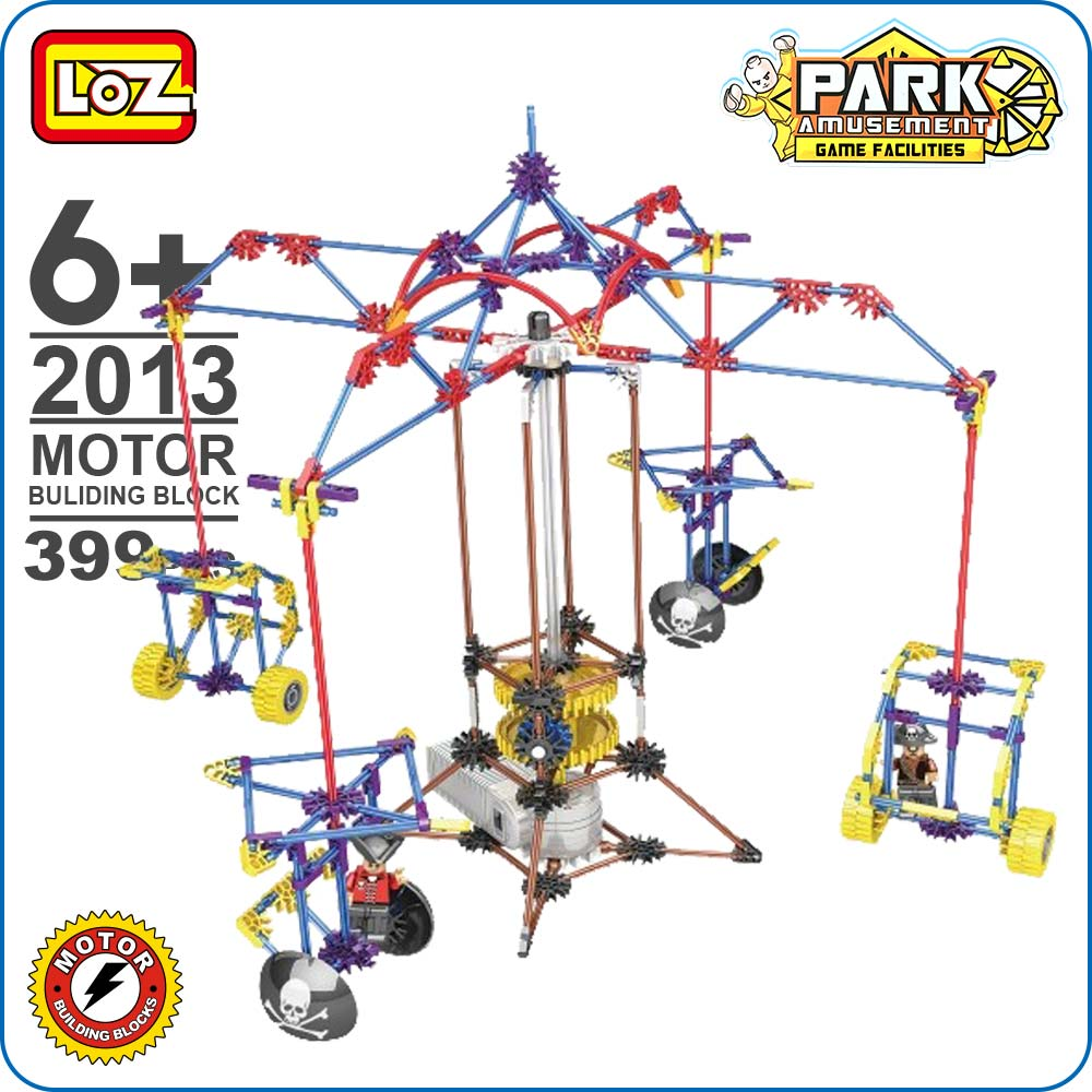 LOZ Electric Motor Blocks Merry-go-round Carousel Rotate Vaulting Horse Amusement Park Plastic Assembly Toys Model Building 2013 hot funland merry go round building block with motor figures whirligig bricks 10196 model electric toys collection for kids gfit