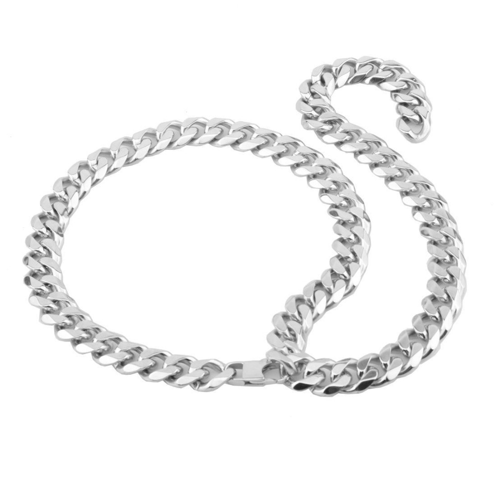 Image 2 - Men Hip hop Chains Necklaces Stainless Steel High quality XXXtentacion Style Miami Cuban chain Necklace Male Hiphop jewelry gift-in Chain Necklaces from Jewelry & Accessories