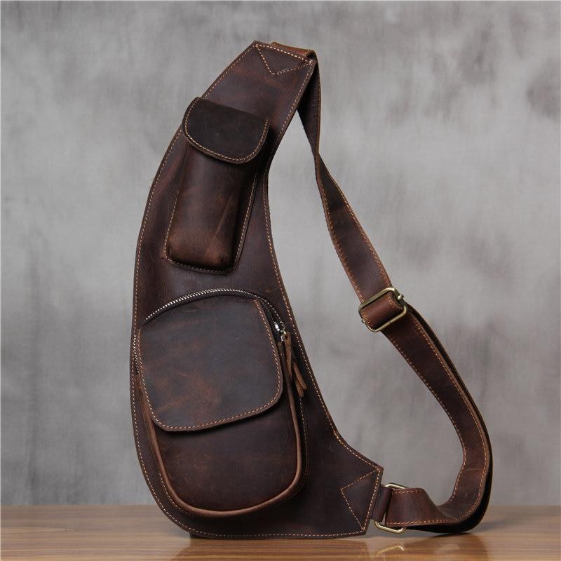 New Designer Men Genuine Leather Chest Bag Brand Real Cow Leather Motorcycle Crossbody Bags Men's Shoulder Messenger Bag Bolsos цены онлайн