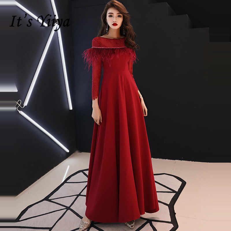 5e5c266689e Это YiiYa вечернее платье 2019 с круглым вырезом и кисточками с длинным  рукавом А-силуэта