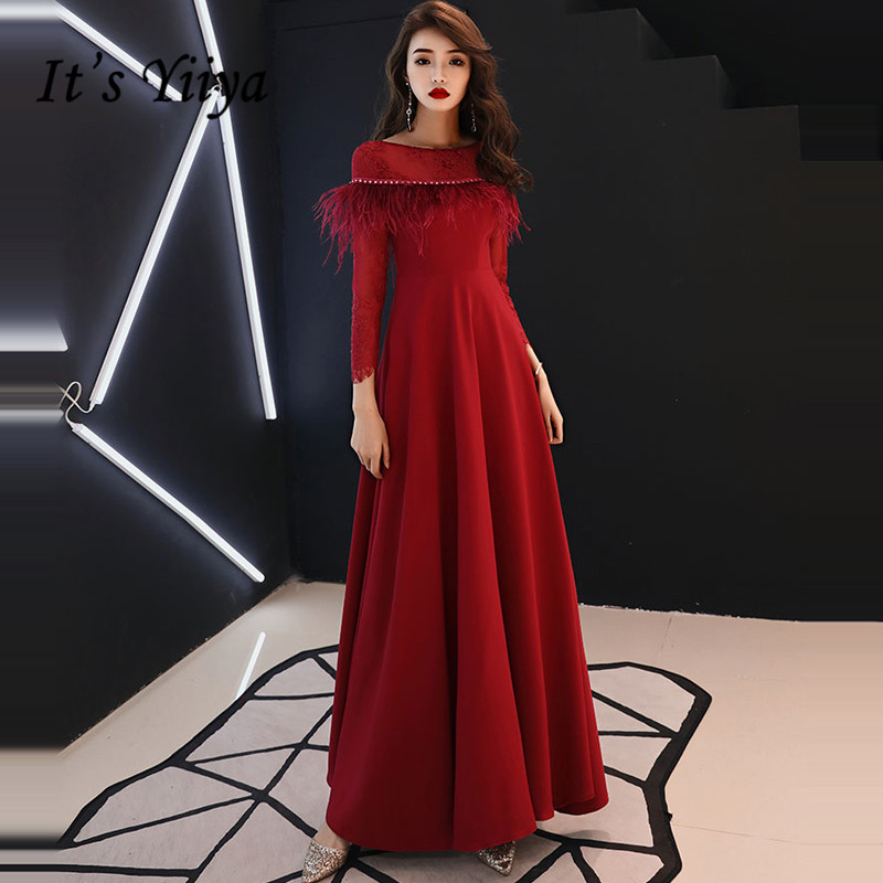 It's YiiYa   Evening     Dress   2019 O-neck Tassel Long Sleeve A-line   Evening   Gowns Zipper Party   Dresses   LX1367 robe de soiree