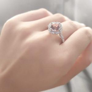 Image 4 - UMCHO, однотонные кольца из стерлингового серебра с искусственным морганитом для женщин, обручальное кольцо, розовый драгоценный камень, подарок на день Святого Валентина