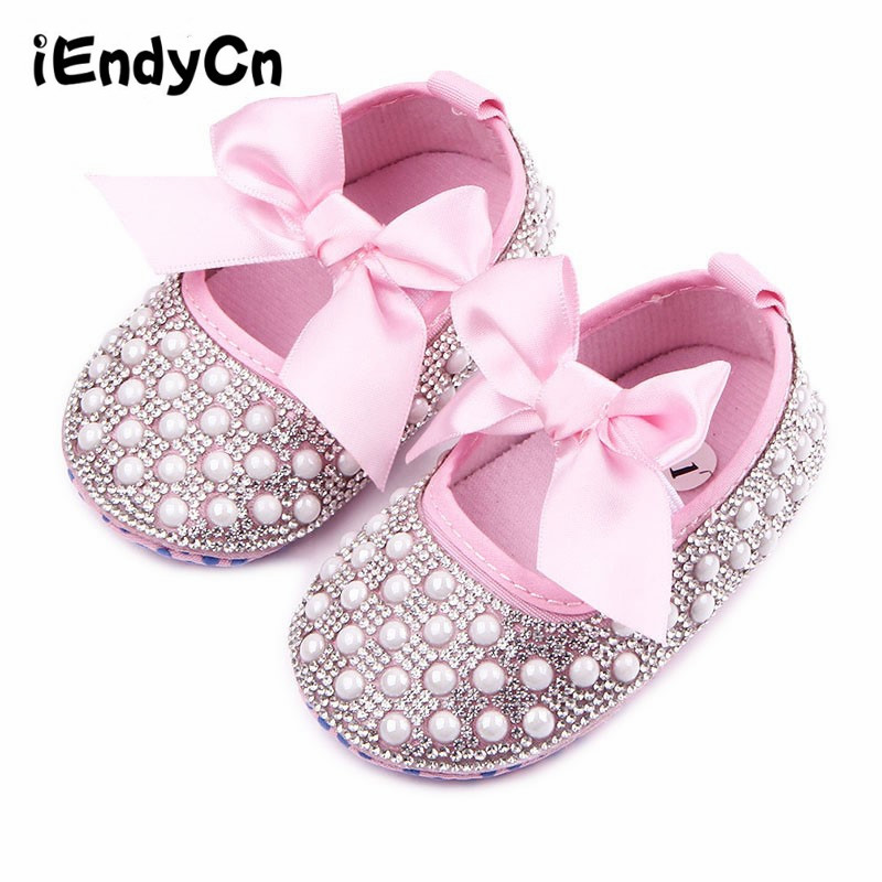 iEndyCn Bow Crib Shoes Baby 2018 Baby Girl Princess Baby Shoes Summer Soft Bottom Breathable Barefoot Shoes Female YD206LLR