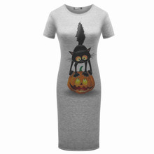 Originality Clothing Round Neck Short Sleeve Knee Length Elegant Pencil Dresses Summer Fashion Cute print Women cat Solid Dress