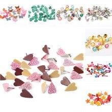 Микс бабочка цветок лист форма гвоздики со стразами и шипами для одежды круглые квадратные штифтики для скрапбукинга, украшение застежки