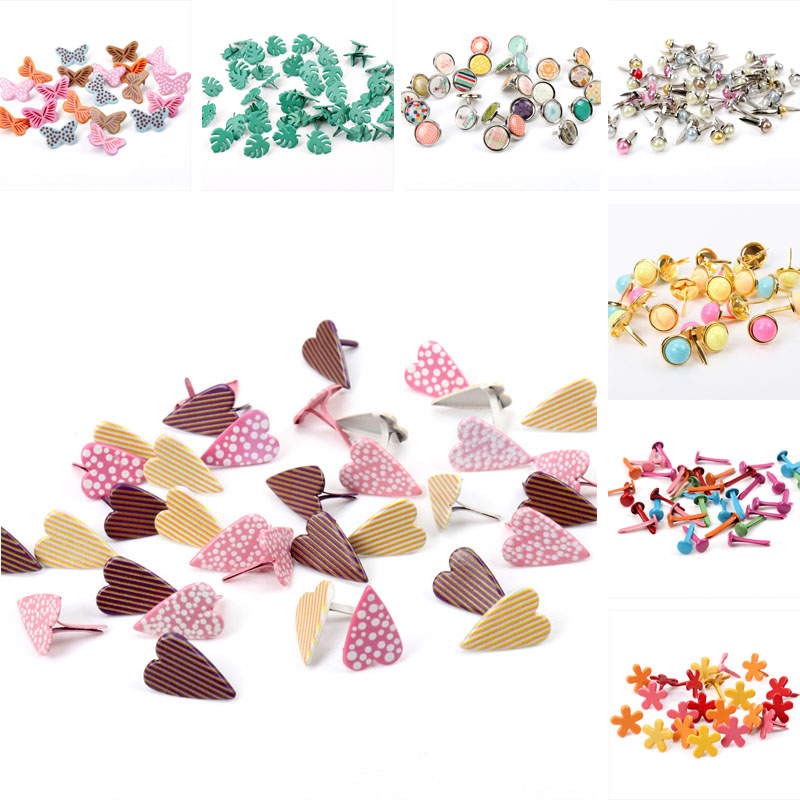 Mix Butterfly Flower Leaf Shape Rhinestone Studs And Spikes For Clothes Round Square Brads Scrapbooking Embellishment Fastener