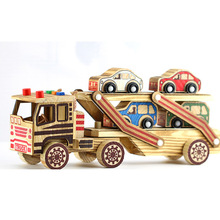 цены на Wooden Double Deck Flat-bed Truck Model Toys Kids Children Boys Foldable Car Transport Vehicle Toy Decoration Brithday Gifts  в интернет-магазинах