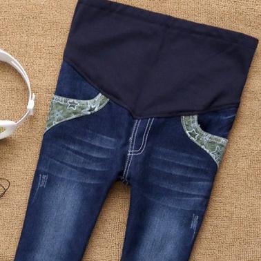 Primavera e verão calças de Brim de maternidade plus size maternidade solta calças assentamento calças abdominais SH-3001JYF
