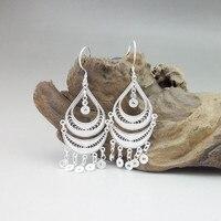 Guizhou Chinese High Homemade Handmade Ethnic Miao Jewelry 999 Sterling Silver Tassel Earrings 2019 Earings Fashion Jewelry
