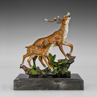 New design bronze statue Sika deer Lost Wax Animal Figurines Christmas Decor Birthday Gift