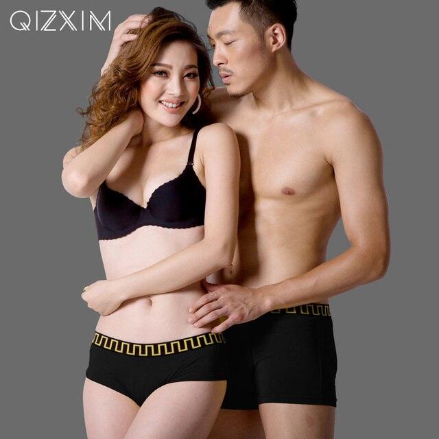 30a7d7fac5d9c2 QIZXIM Pure Color Simple Modal Couple Panties Women Underwears Men Boxers  Couple Underwear Boyshorts Valentine's Love Underpants