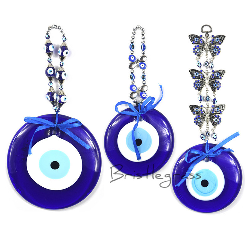 BRISTLEGRASS Turkish Blue Evil Eye Butterfly Wall Hanging Pendant Pendulum Amulet Lucky Charm Blessing Protection Art Gift Decor все цены