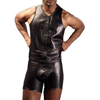 2017 da forma dos homens boxers pvc divertido lingerie sexy tight-fitting boxer colete de couro dos homens e boxer definir gay underwear