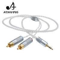 ATAUDIO Silver plated Hifi 3.5mm to 2RCA Audio Cabler PC Mobilephone Amplifier Interconnect High Quality 3.5 Jack to RCA Cable