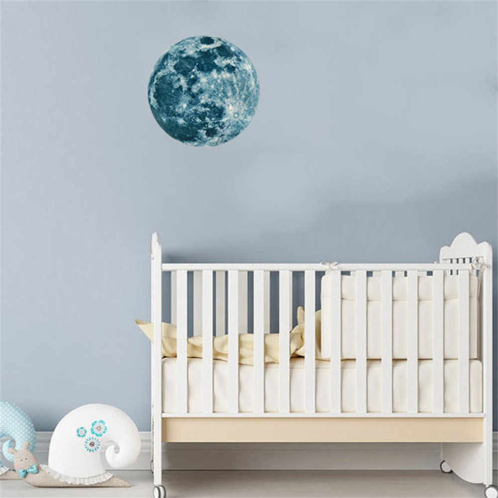 3D Large Moon Fluorescent Wall Sticker Wallpaper Night Removable Glow In The Dark Sticker Home Decorations 5cm 12cm 20cm 30cm
