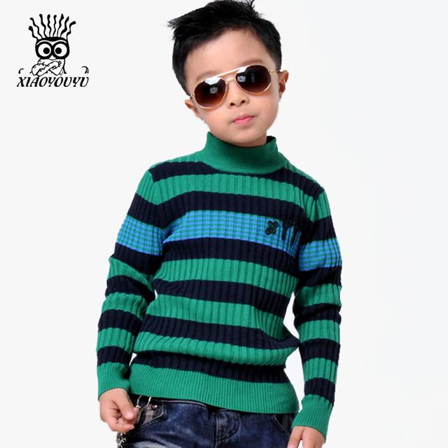Tamanho 110-150 cm Meninos XIAOYOUYU Suéteres Casuais 2016 Estilo Coreano Stripe Crianças Popular Pullovers Gola Roupa Das Crianças