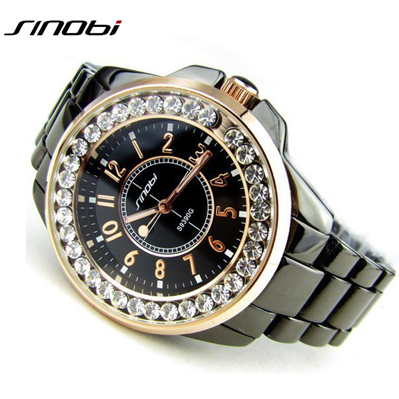 Bling Rhinestone SINOBI Luxury steel Quartz Watch Women Clock female Ladies Dress Wristwatch Gift Silver Gold 2017 relojes mujer