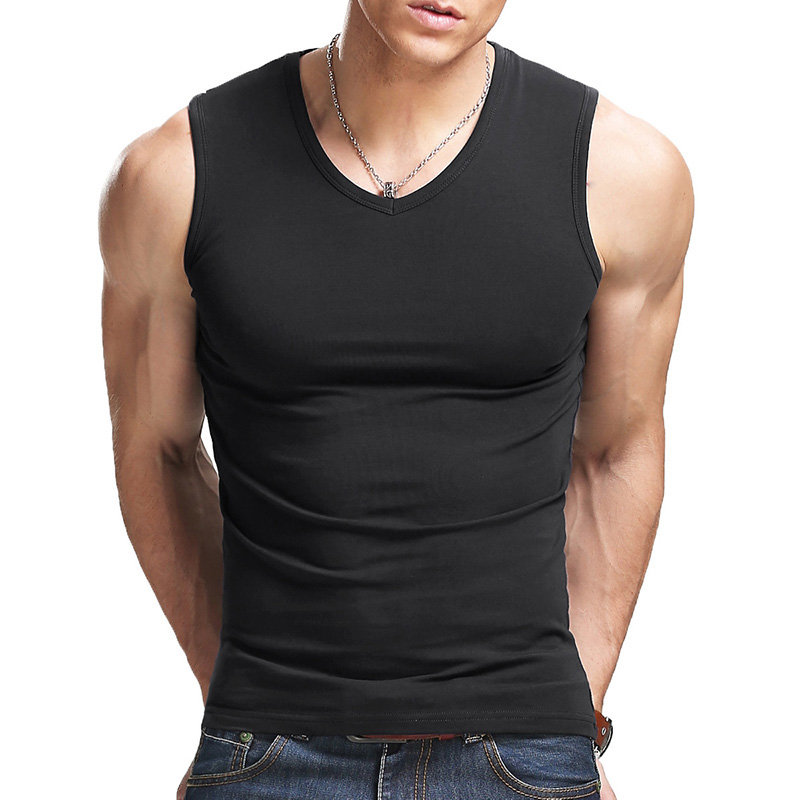 Men's All Cotton Solid Color Seamless Underwear Clothing Close-fitting Broad Shoulders V/O-neck Vest Comfortable Undershirt