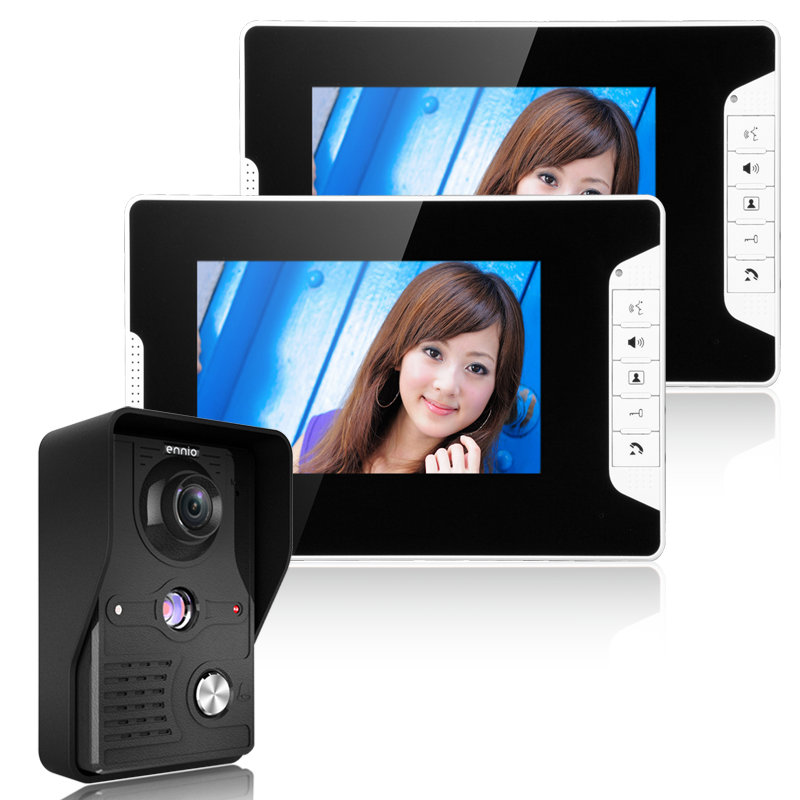 DHL Free Shipping 7 LCD Video Door Phone Intercom System with 1 Night Vision IR Camera 2 Monitor Rainproof