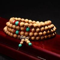 Natural Gold Teak Bracelets 108 Beads 8mm Round Bracelets&Bangles Multilayer Beads Bracelet for Men or Women Jewelry Accessories