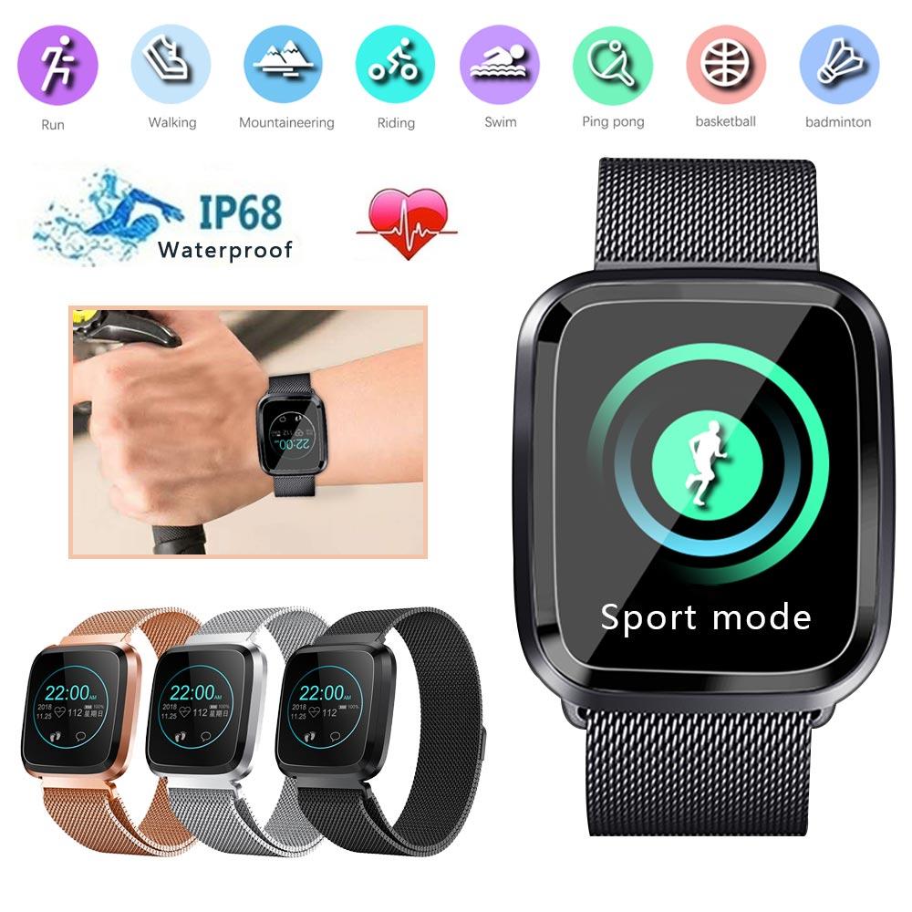KISSCASE HD écran couleur métal intelligent Bluetooth montre tension artérielle moniteur de fréquence cardiaque étanche sport Portable bracelet IP67