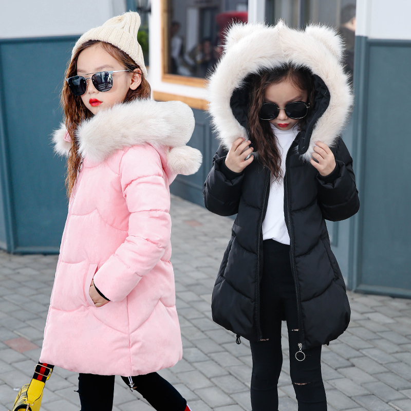 Girls Jackets&Coats2017 Arrivals Fashion Rabbit Fur Hooded Thick Warm Parka Down Kids Clothes Cotton Children's Outwear Clothing