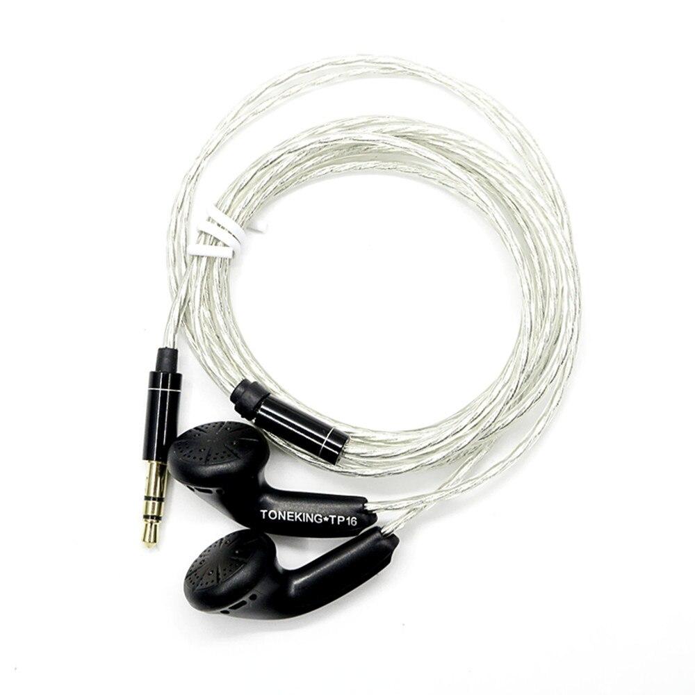 Newest TONEKING MusicMaker TP16 32ohms 3.5mm In Ear Earphone Flat Head Plug Earbud Earphone DYI HIFI Bass earphone Such as MX985