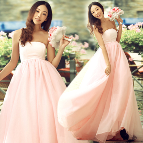 db2fdb8531d22 Hot Sale! Tender Pink Bridal Tube Top Evening Dress,Long Design Strapless  Wedding Dresses