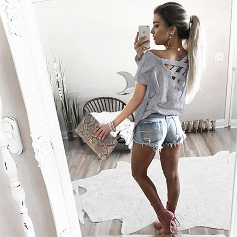 Women's Sexy Backless Hollow Bandage Punk Tee Shirt, Woman's Short Sleeve Summer T-Shirt 11