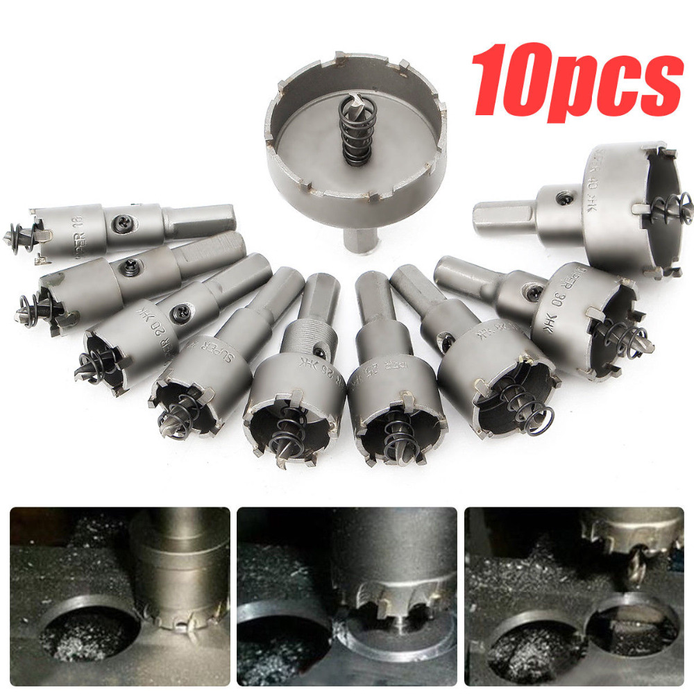 10pcs 16 50mm Carbide Tip TCT Drill Bit Hole Saw Stainless Steel Alloy Tools in Power Tool Accessories from Tools