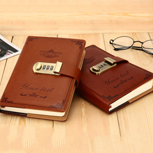 RuiZe B6 vintage notebook with lock leather Password book journal diary thick paper creative note book stationery gift недорого