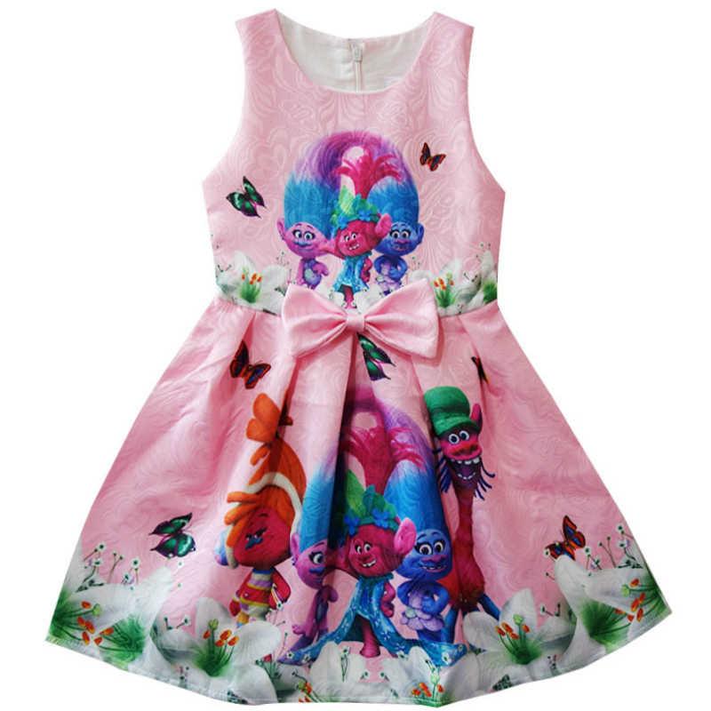Платье с троллями летние платья без рукавов для девочек на день рождения, детское платье принцессы для девочек костюм с троллями