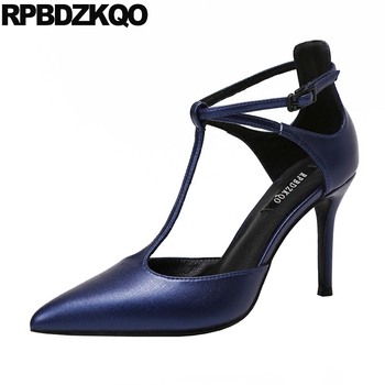 designer china thin blue satin shoes t strap suede elegant 8cm pointed toe women pumps high heels nude size 4 34 modern 2019