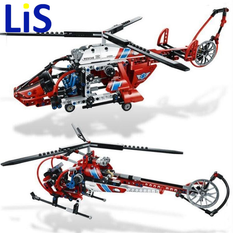 (Lis)New 3355 3356 Technic AeroKing Rescue Helicopter building bricks blocks Toys for children Compatible with