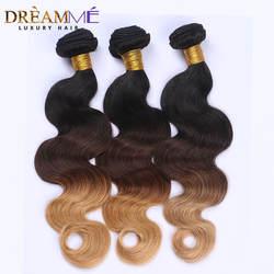 Dreaming Queen hair Body Wave эффектом деграде (переход от темного к бразильские человеческие волосы не Волосы remy 3 Связки #1B/4/27 Мёд блондинка Цвет Омбрэ