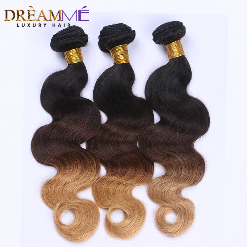 Dreaming Queen Hair Body Wave Ombre Brasilian Human Non Remy Hair 3 - Menneskehår (sort) - Foto 1