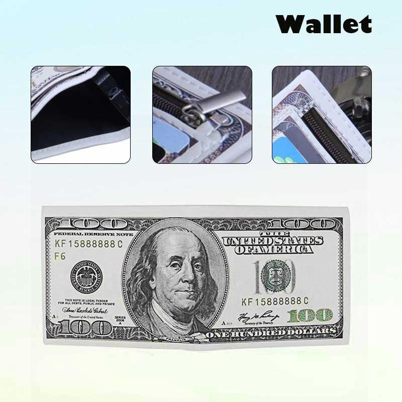 Nueva cartera de nuestro billete de dólar, Cartera de cuero marrón, billetera con foto de tarjeta de crédito doble para hombres, 100 $, monedero