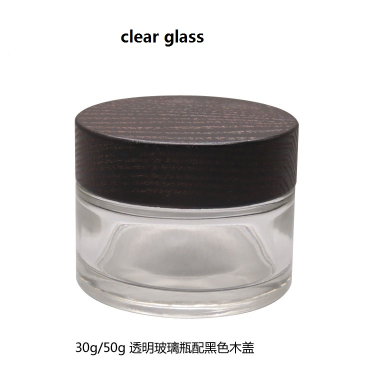 30g/50g 105/112pcs Empty Clear glass Cosmetics bottle jar with black Wood cover Frosted glass makeup packing box cap Mask Case illusion money box dream box money from empty box wonder box magic tricks props comedy mentalism gimmick
