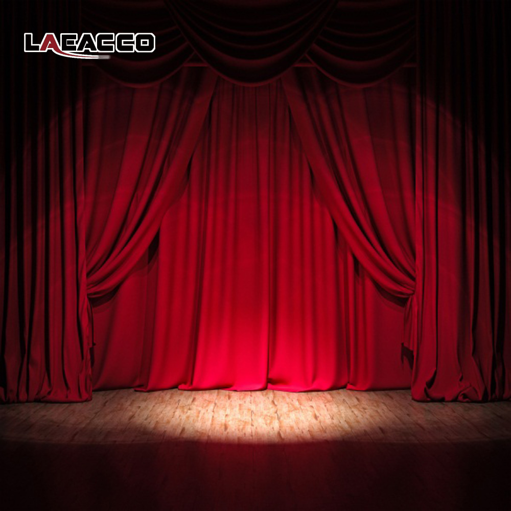 Laeacco Dark Red Curtain Wooden Floor Stage Baby Children Photography Backgrounds Vinyl Custom Camera Backdrops For Photo Studio laeacco grunge old wood planks wooden texture baby photography backgrounds vinyl custom photographic backdrops for photo studio