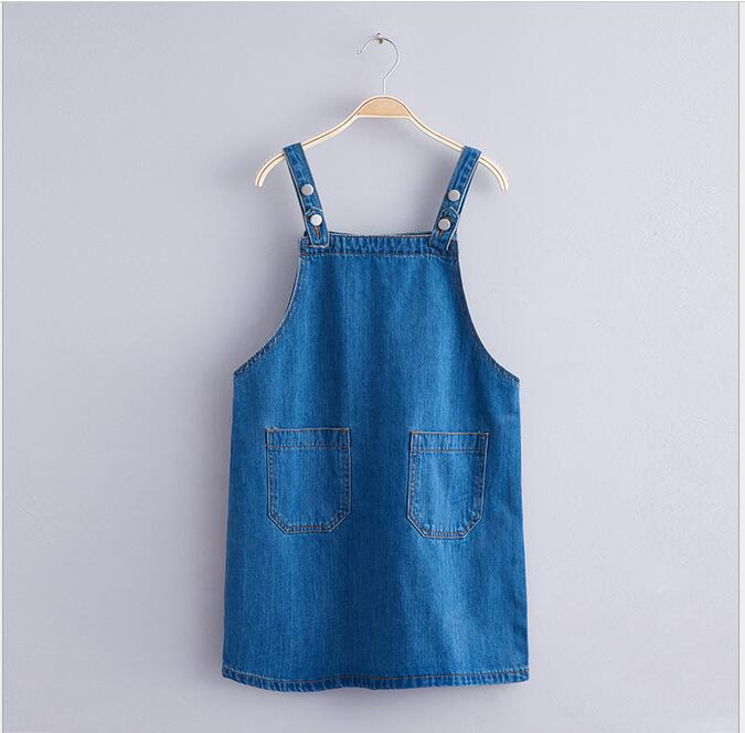 2017 Teenager Wash Blue Denim Dresses Junior Fashion Jean Suspender Dress Big Baby Girls Spring wholesale clothing