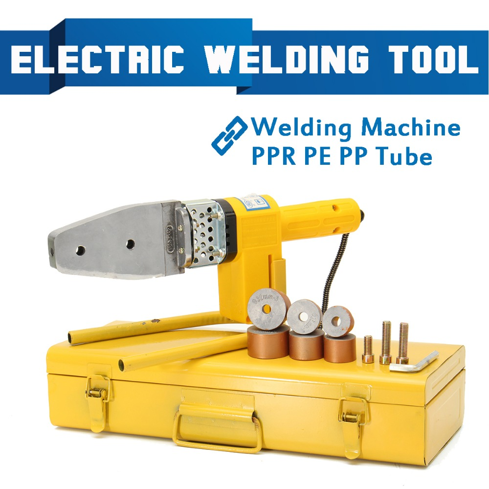 New 220V 8Pcs Automatic Electric Welding Tool Heating PPR PE PP Tube Welded Pipe Welding Machine+ Heads+ Stand+Box Yellow