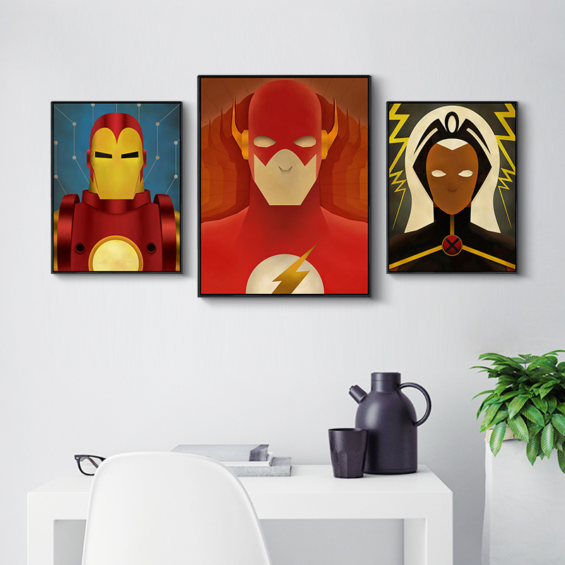 Modern Home Wall Decoration Childrens Superhero Canvas Painting Avenger Flash Cartoon Comics Poster Art Print Unframed In Calligraphy