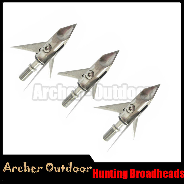 US $20 01 9% OFF|6/12pcs RAMCAT Stainless Steel Broadheads 100 grain 3  Blade Hunting Broadhead Arrow Head Tips Crossbow Hunting Archery -in Bow &
