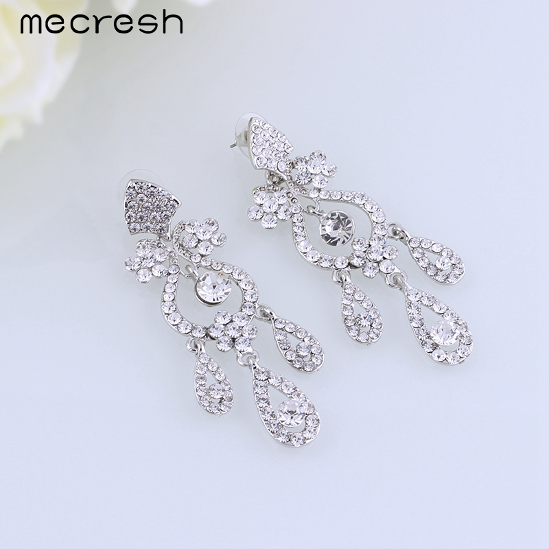 Mecresh Luxurious Crystal Bridal Hanging Earrings Silver Plated Leaf