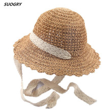 Parent-Child Handmade Summer lace Ribbon Sun Hat ladies Straw Panama Wide-Brimmed Beach Foldable Hollow
