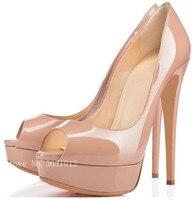 Kích Thước lớn Màu Đen Gradient Màu Đỏ Phụ Nữ Bơm Patent Leather Peep Toe Cao Gót Nền Tảng Giày Cao Gót Khỏa Thân Bottoms đối với Phụ Nữ Giày