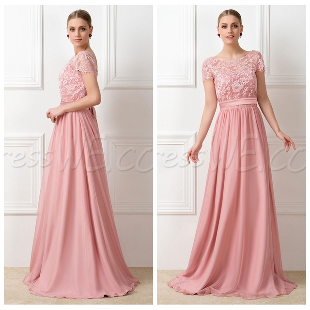 Cheap Formal Arabic Lace Bridesmaid Dresses Pink Peach Party Gowns ...