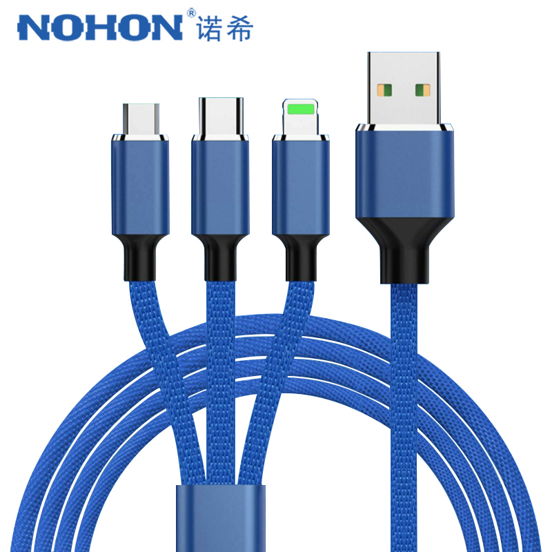 NOHON 3 in 1 Micro USB TypeC Charge Cable For Samsung Xiaomi LG Lighting 8 Pin For iPhone 7 8 Plus X Phone Charger Cables 1.2/2M|Mobile Phone Cables|   - AliExpress