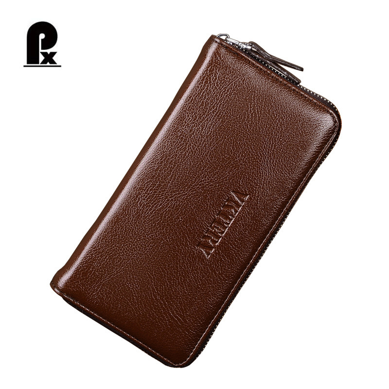 New Man Clutch Bag PU Leather Vintage Long Wallets Men Brown Mens Purse with Many Credit Card Holder Zipper Around Vallet Male ...