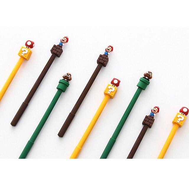 30 יח\חבילה Kawaii סופר מריו ג ל עט Cartoon ג ל עט חידוש 3D מכתבים בית ספר הפרס תלמיד ציוד לבית ספר סיטונאי